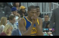 Kevin Durant pulls a Steph Curry & looks away after 3-pointer
