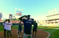 LeBron James & the Cavs fire up the Cleveland crowd during Indians vs. Red Sox