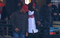 LeBron James & the Cavs support the Indians at Game 2 of the World Series