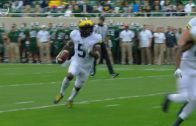 Michigan's Jabrill Peppers dives for the pylon to get the touchdown