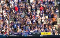 Odell Beckham Jr. proposes to the kicking net after touchdown
