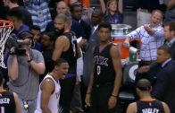 Russell Westbrook talks smack to the Phoenix Suns bench