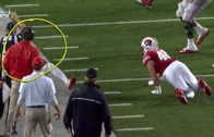 Urban Meyer gets hit in the head by ref during Ohio State vs. Wisconsin