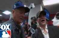 Bill Murray celebrates World Series win in Cubs locker room