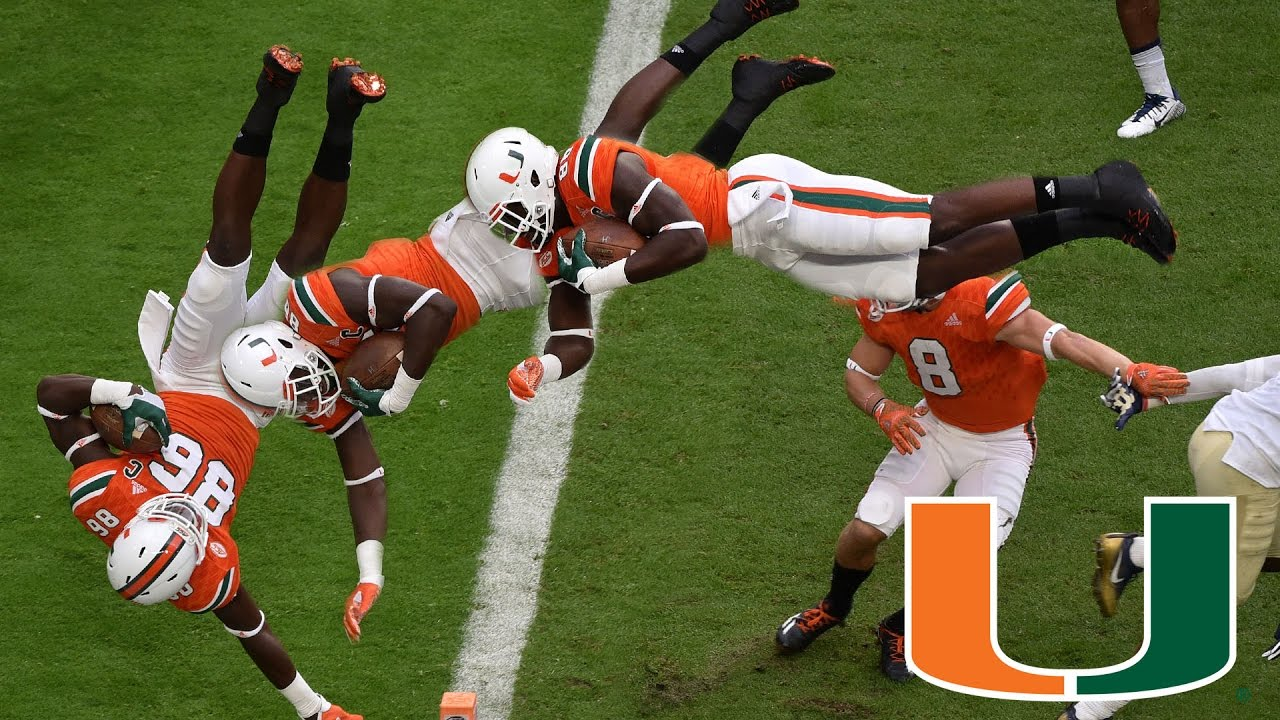 Miami Hurricanes David Njoku Scores Leaping Touchdown Vs Pittsburgh
