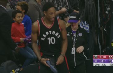 Rudy Gay throws DeMar DeRozan's shoe & hits a fan in the face with it
