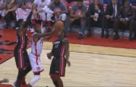 Terrence Ross hits circus trick shot plus the foul