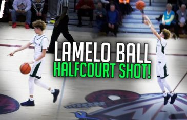 High school player LaMelo Ball pulls up from half court & hits it
