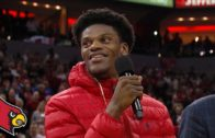 Lamar Jackson honored at Kentucky vs. Louisville Basketball game