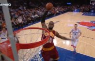 LeBron James throws down the massive slam dunk at MSG