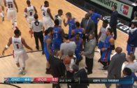 Russell Westbrook kicks ball out of Damian Lillard's hands
