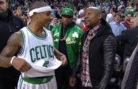 Isaiah Thomas gives Floyd Mayweather his jersey after Celtics game