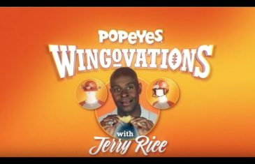 Jerry Rice stars in bizarre Popeyes commerical with chicken wing helmet
