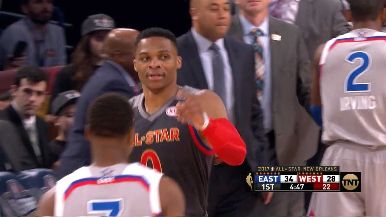 fad789ca2317 Kevin Durant throws an alley-oop to Russell Westbrook in the All-Star game