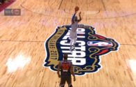 LeBron James hits a 3-pointer from almost half court