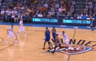 Russell Westbrook shoves Kevin Durant after a screen