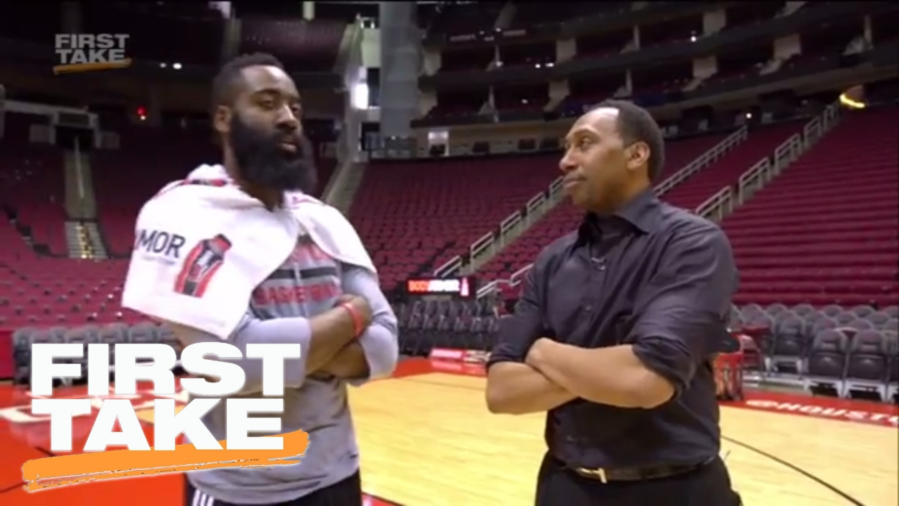 9114a38df42 Stephen A. Smith throws up airballs   bricks shooting with James Harden