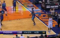 Leandro Barbosa celebrates a 3-pointer going in but it misses