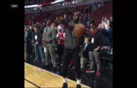 LeBron James mocks Lonzo Ball's jump shot during warm ups