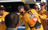 NASCAR racer Kyle Busch punches Joey Logano in the face