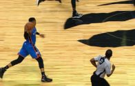 Russell Westbrook with a beautiful full court pass between Cory Joseph's legs