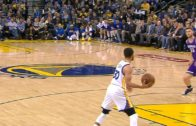 Stephen Curry throws a full court touchdown pass to Andre Iguodala