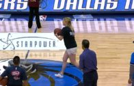 Dallas Mavericks fan hits half court shot in Dirk Nowitzki shirt