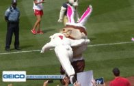 Easter bunny lays a spear on Teddy Roosevelt at Washington Nationals game