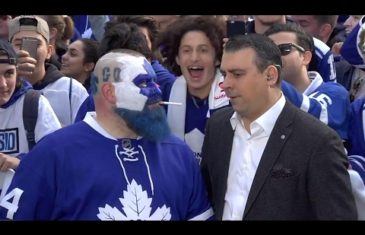"Maple Leafs fan ""Dart Guy"" shares cigarette with Sportsnet's Sid at Maple Leaf Square"