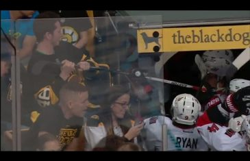 Salty Bruins fan tries to steal Ottawa Senator players stick after loss