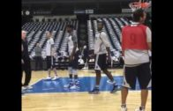 Tony Romo scores in practice with the Dallas Mavericks