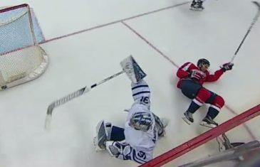 Toronto Maple Leafs goalie Frederik Andersen lays a hip check vs. Washington