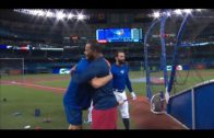 Edwin Encarnacion greets his former teammates Jose Bautista & Troy Tulowitzki