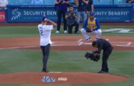 Lonzo Ball throws out first pitch at Los Angeles Dodgers game