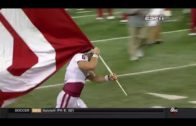 "Oklahoma QB Baker Mayfield plants team flag in Ohio State ""O"""