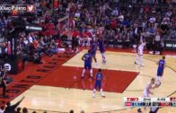 Andre Drummond doesn't have the time to defend a Valanciunas three