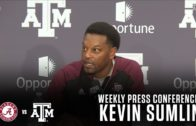 Kevin Sumlin speaks with the media about his team's upcoming game against Alabama