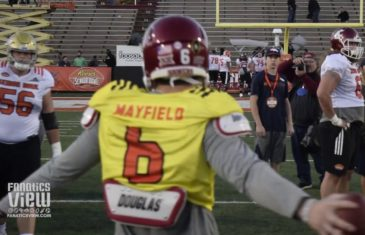 Baker Mayfield works on QB & Center exchange after Senior Bowl fumble
