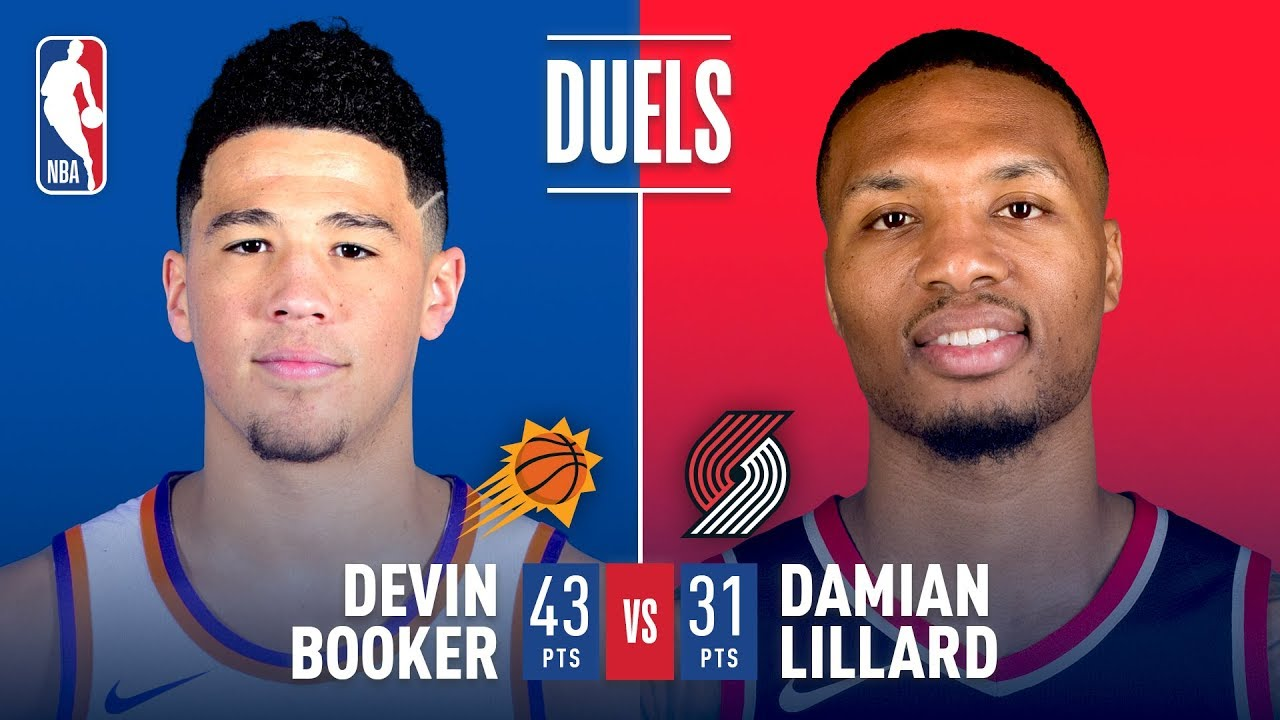 Damian Lillard and Devin Booker trade buckets in Rip City
