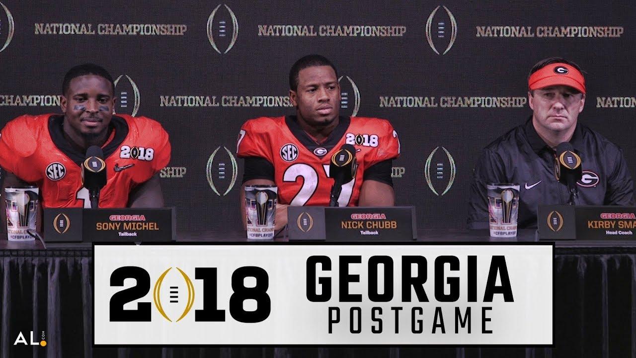 Kirby Smart, Nick Chubb, & Sony Michel speak Georgia's loss to Alabama