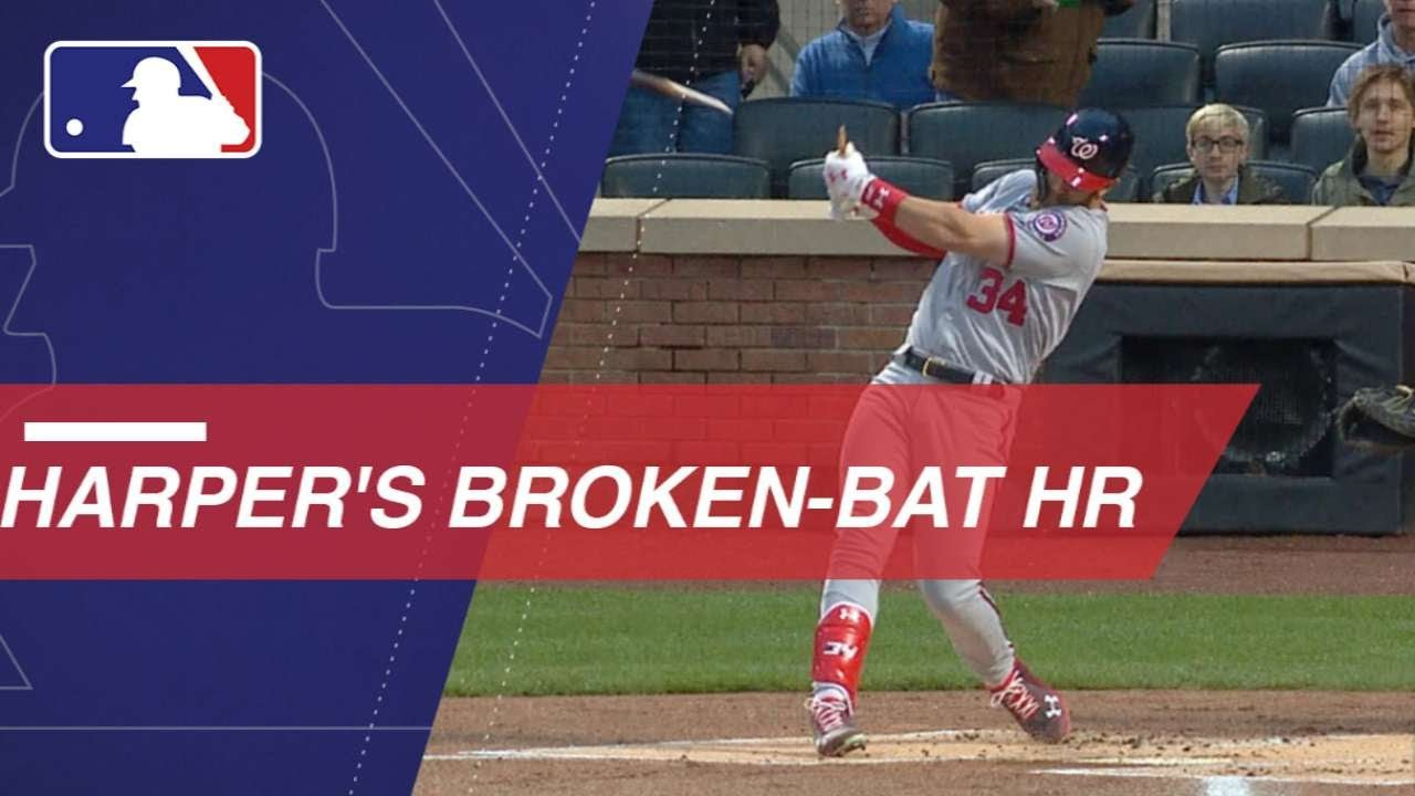 Bryce Harper goes yard on a bizarre broken-bat dinger
