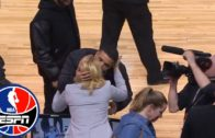 Drake gives Doris Burke a kiss at Celtics-Raptors Game