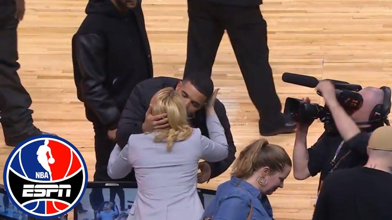 Drake gives Doris Burke a kiss at Celtics-Raptors Game