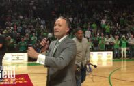 Head coach Grant McCasland speaks to Mean Green fans after CBI win