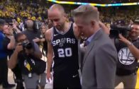 Manu Ginobili and Steve Kerr share a special moment after series finale