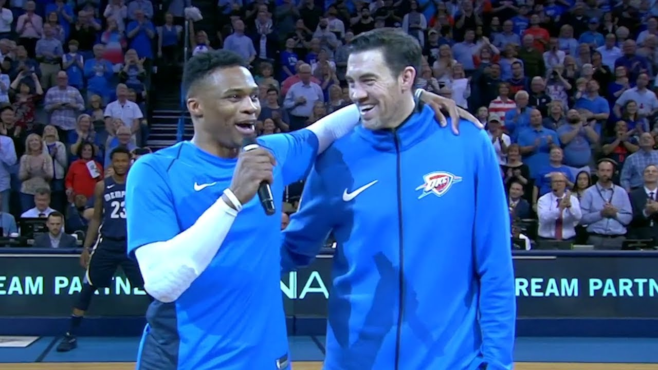 Russell Westbrook shows Thunder vet Nick Collison some love