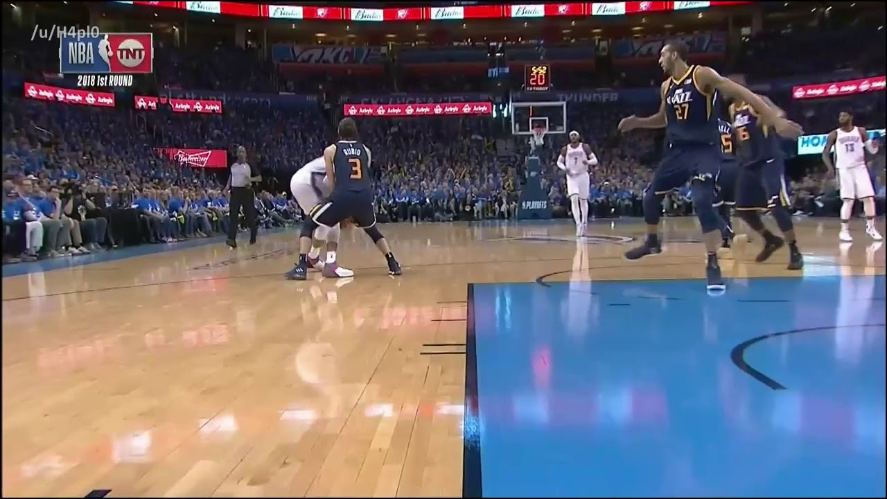 Russell Westbrooks gets physical with Ricky Rubio