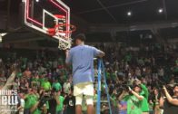 UNT cuts down the net after taking home the CBI Championship