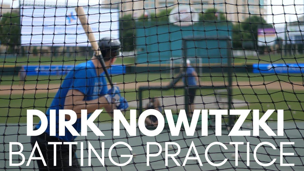 Dirk Nowitzki Practice Swings Before Event