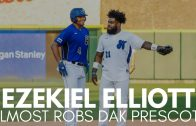 Ezekiel Elliott Almost Robs Dak Prescott of Base Hit